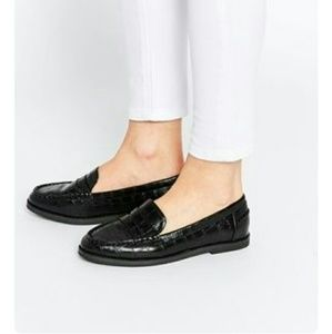 ASOS Faux Crocodile Penny Loafers
